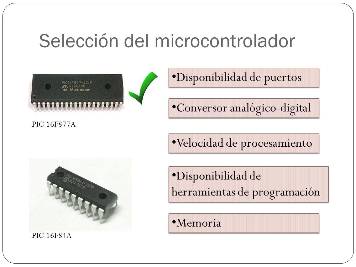 Selección del microcontrolador Disponibilidad de puertos Conversor analógico-digital Velocidad de procesamiento Disponibilidad de herramientas de prog