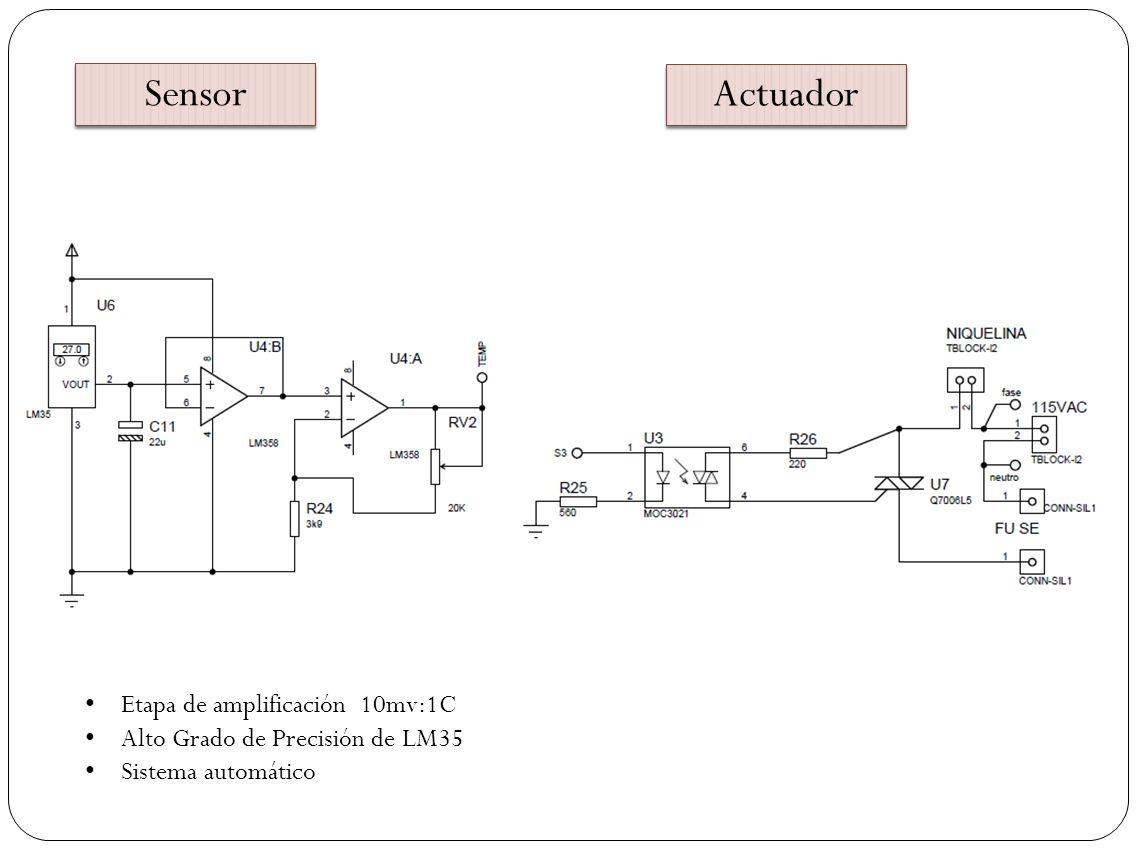 Sensor Actuador Etapa de amplificación 10mv:1C Alto Grado de Precisión de LM35 Sistema automático