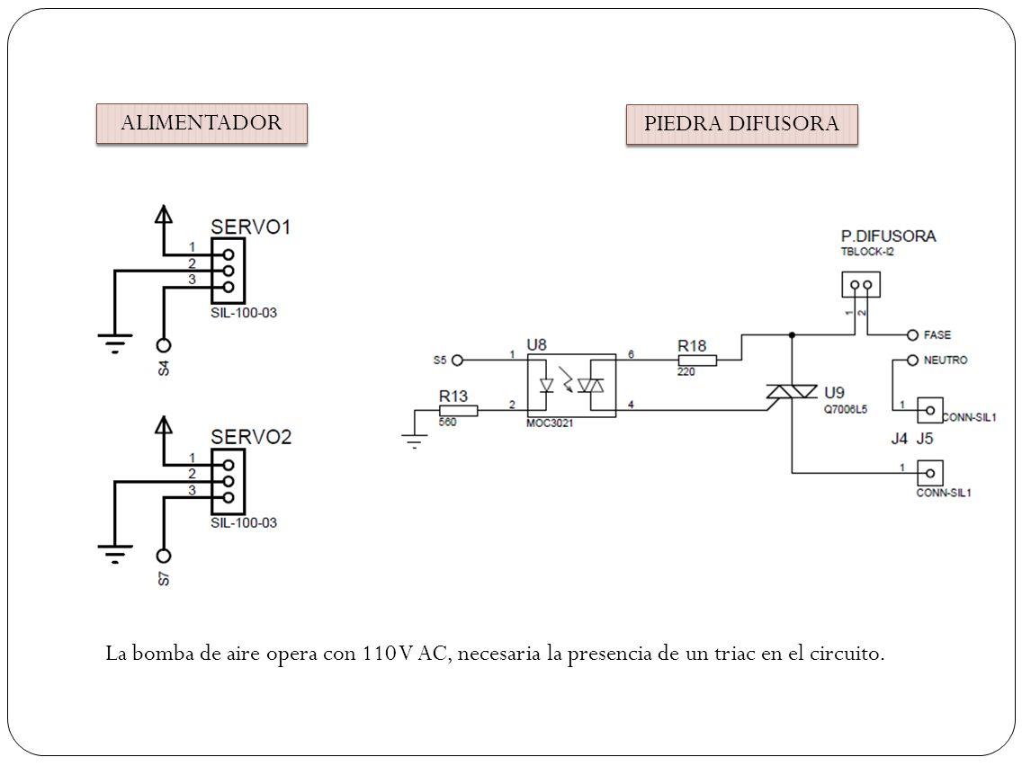 ALIMENTADOR PIEDRA DIFUSORA La bomba de aire opera con 110 V AC, necesaria la presencia de un triac en el circuito.