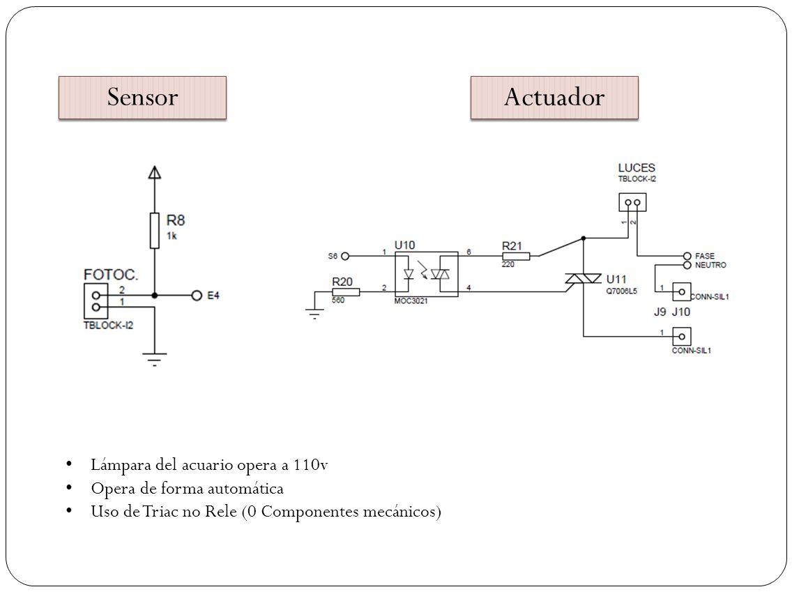 Sensor Actuador Lámpara del acuario opera a 110v Opera de forma automática Uso de Triac no Rele (0 Componentes mecánicos)