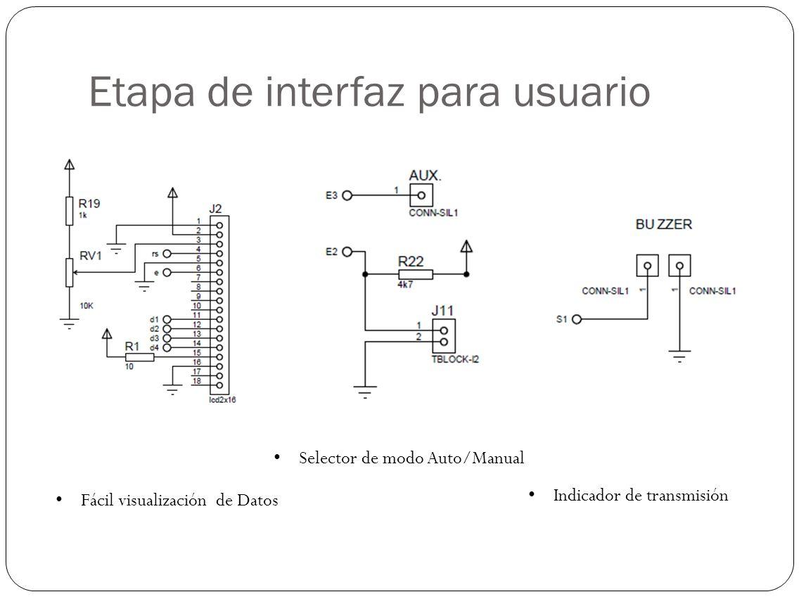 Etapa de interfaz para usuario Fácil visualización de Datos Selector de modo Auto/Manual Indicador de transmisión