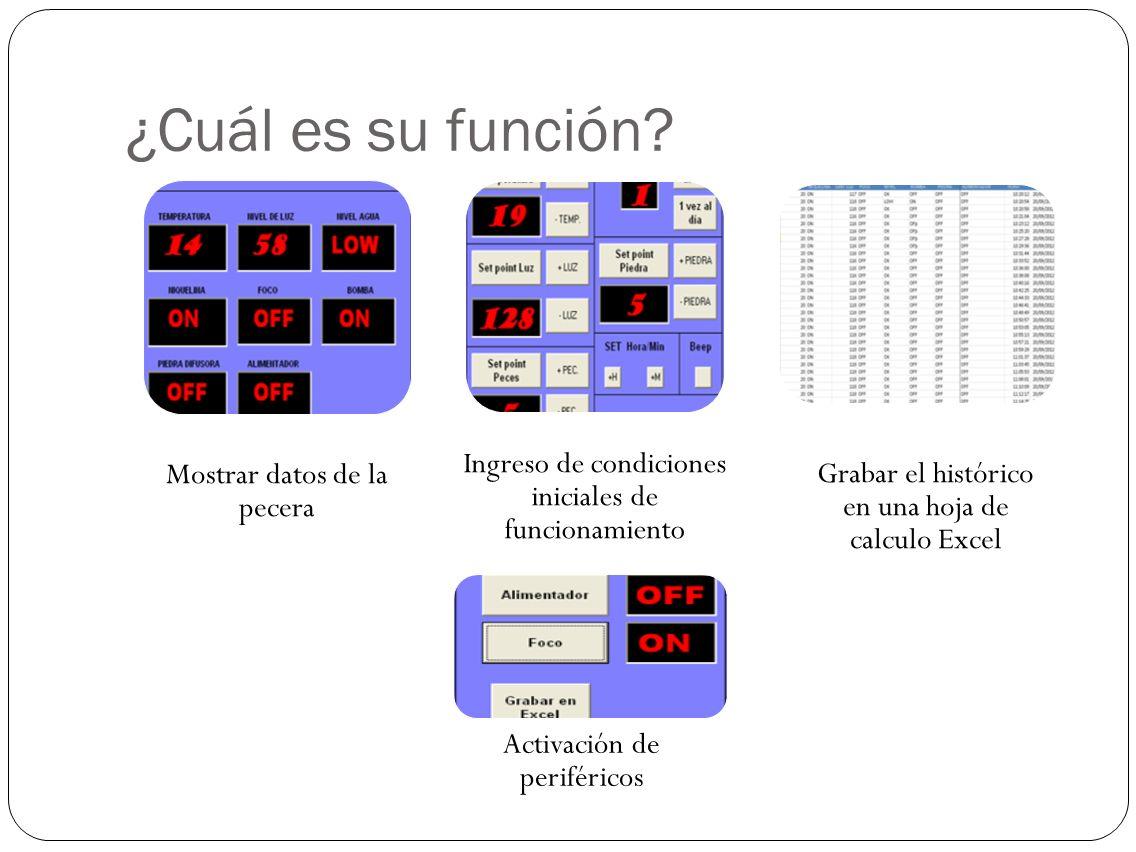 ¿Cuál es su función? Mostrar datos de la pecera Ingreso de condiciones iniciales de funcionamiento Grabar el histórico en una hoja de calculo Excel Ac