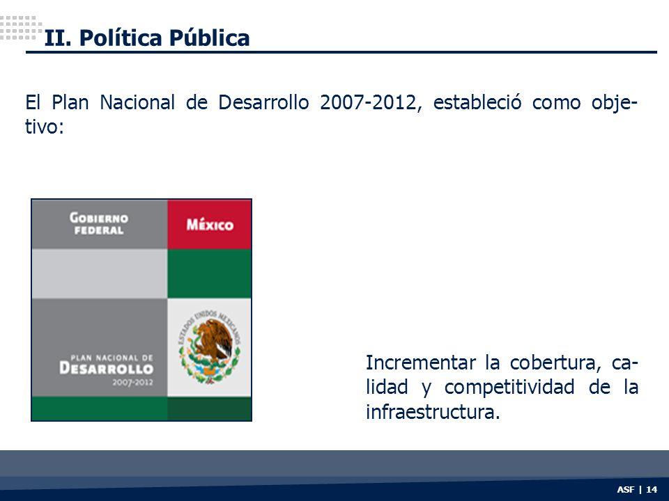 II. Política Pública ASF | 14 El Plan Nacional de Desarrollo 2007-2012, estableció como obje- tivo: Incrementar la cobertura, ca- lidad y competitivid