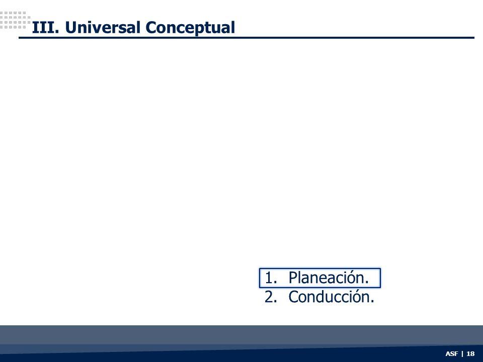 ASF | 18 III. Universal Conceptual 1.Planeación. 2.Conducción.