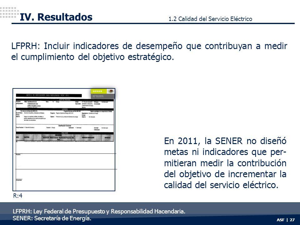 ASF | 27 IV. Resultados LFPRH: Incluir indicadores de desempeño que contribuyan a medir el cumplimiento del objetivo estratégico. En 2011, la SENER no