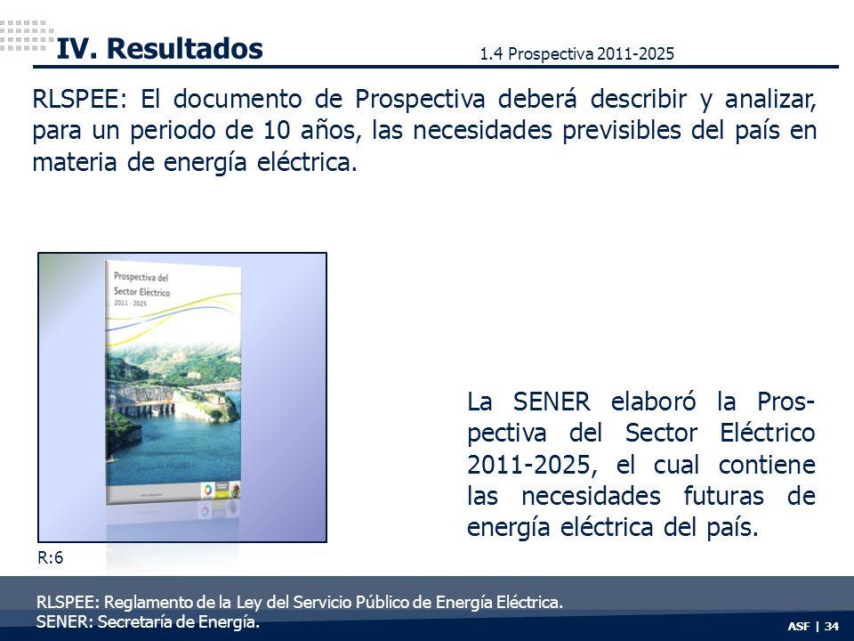 ASF | 34 IV. Resultados RLSPEE: El documento de Prospectiva deberá describir y analizar, para un periodo de 10 años, las necesidades previsibles del p