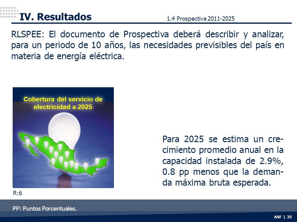 ASF | 35 IV. Resultados Cobertura del servicio de electricidad a 2025 RLSPEE: El documento de Prospectiva deberá describir y analizar, para un periodo
