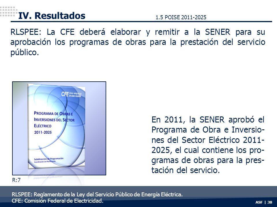 ASF | 38 IV. Resultados RLSPEE: La CFE deberá elaborar y remitir a la SENER para su aprobación los programas de obras para la prestación del servicio
