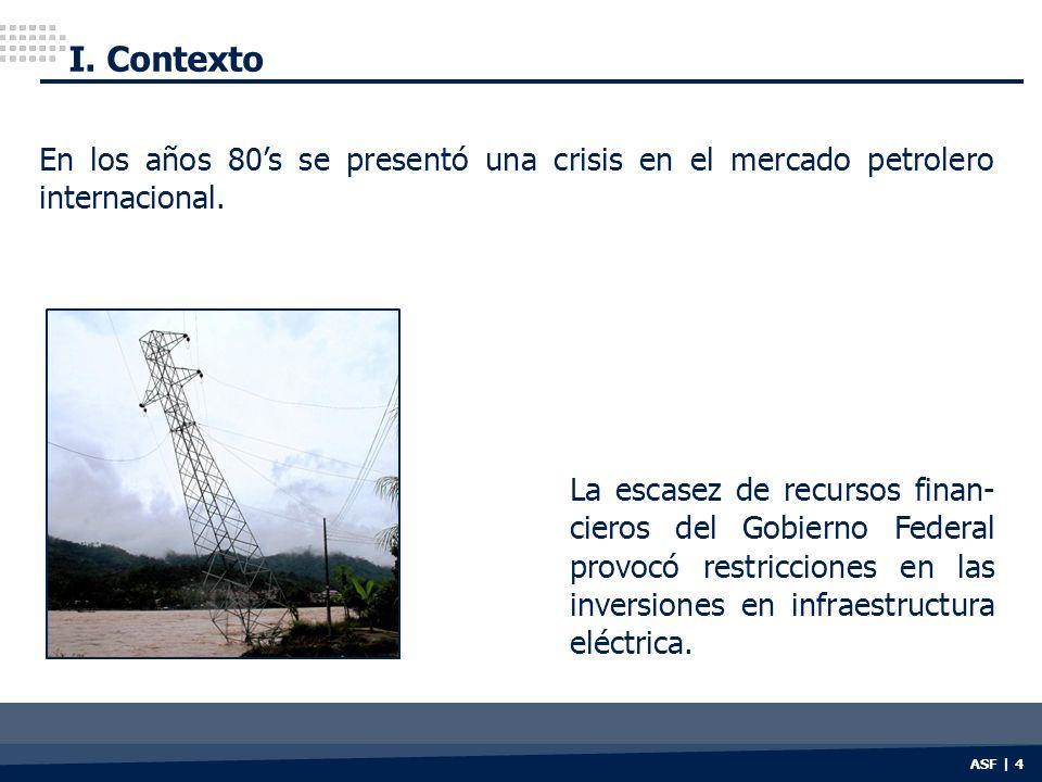 ASF | 4 La escasez de recursos finan- cieros del Gobierno Federal provocó restricciones en las inversiones en infraestructura eléctrica. I. Contexto E