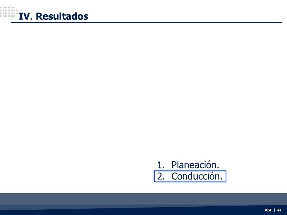 ASF | 41 IV. Resultados 1.Planeación. 2.Conducción.
