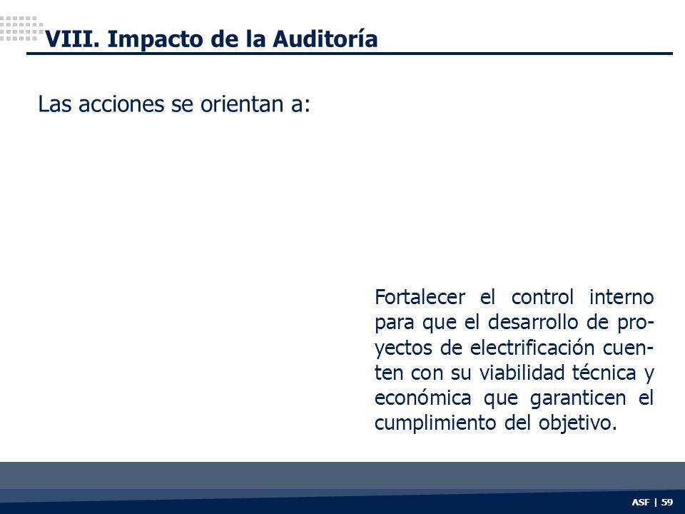 ASF | 59 VIII. Impacto de la Auditoría Las acciones se orientan a: Fortalecer el control interno para que el desarrollo de pro- yectos de electrificac