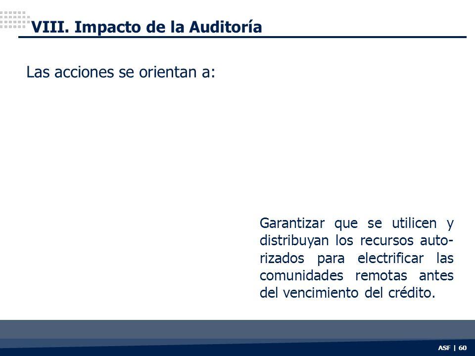 ASF | 60 VIII. Impacto de la Auditoría Las acciones se orientan a: Garantizar que se utilicen y distribuyan los recursos auto- rizados para electrific