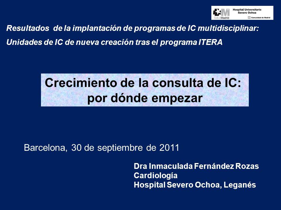Resultados de la implantación de programas de IC multidisciplinar: Unidades de IC de nueva creación tras el programa ITERA Dra Inmaculada Fernández Rozas Cardiología Hospital Severo Ochoa, Leganés Barcelona, 30 de septiembre de 2011 Crecimiento de la consulta de IC: por dónde empezar