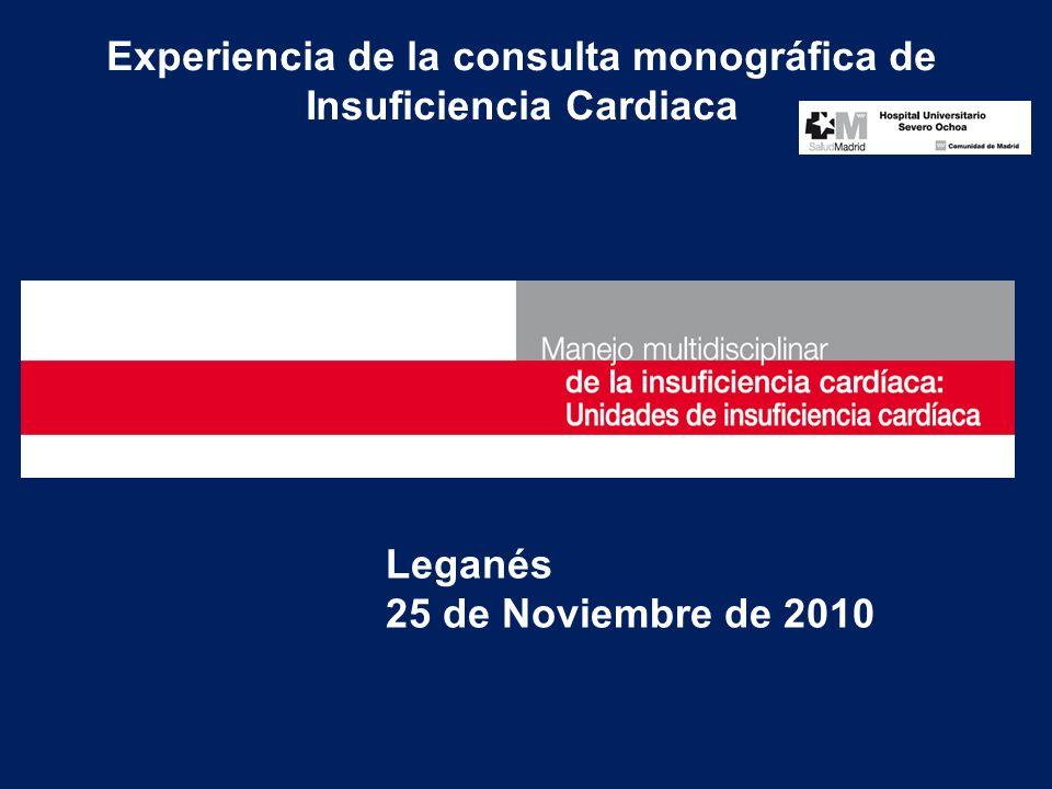 Experiencia de la consulta monográfica de Insuficiencia Cardiaca Leganés 25 de Noviembre de 2010