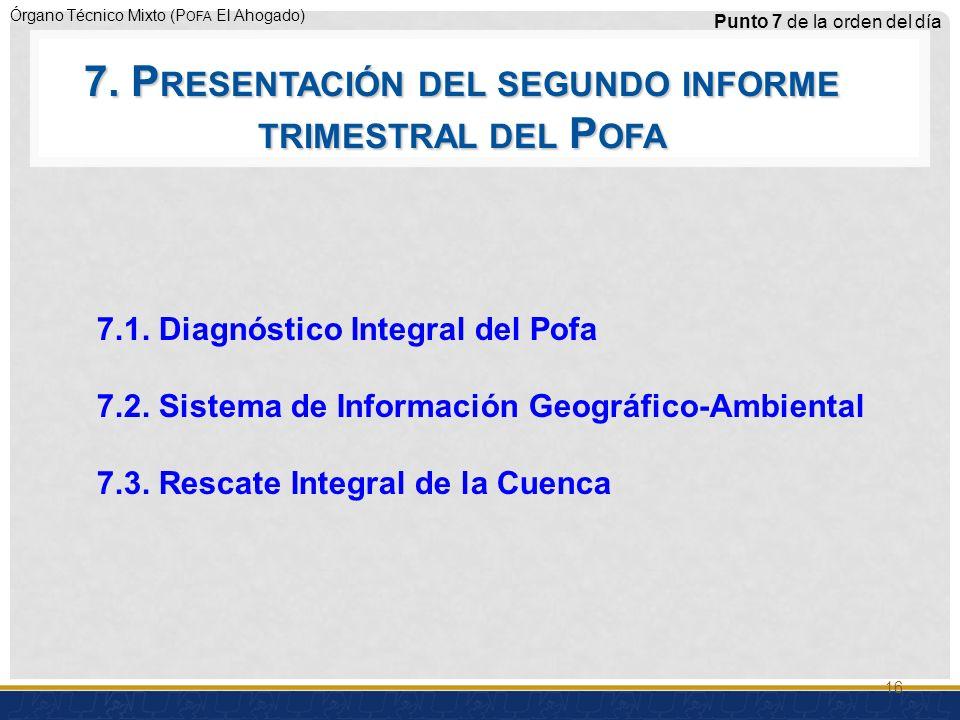 Órgano Técnico Mixto (P OFA El Ahogado) 7.1.Diagnóstico Integral del Pofa 7.2.