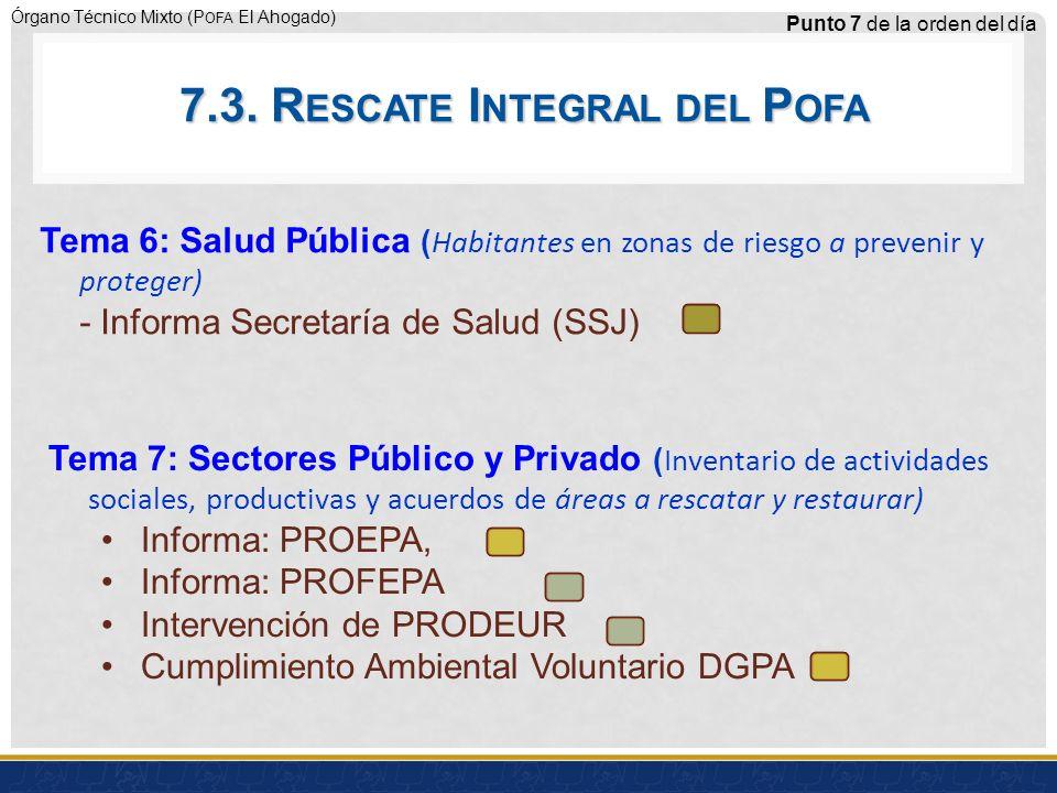 Órgano Técnico Mixto (P OFA El Ahogado) Punto 7 de la orden del día Tema 6: Salud Pública ( Habitantes en zonas de riesgo a prevenir y proteger) - Informa Secretaría de Salud (SSJ) Tema 7: Sectores Público y Privado ( Inventario de actividades sociales, productivas y acuerdos de áreas a rescatar y restaurar) Informa: PROEPA, Informa: PROFEPA Intervención de PRODEUR Cumplimiento Ambiental Voluntario DGPA 7.3.