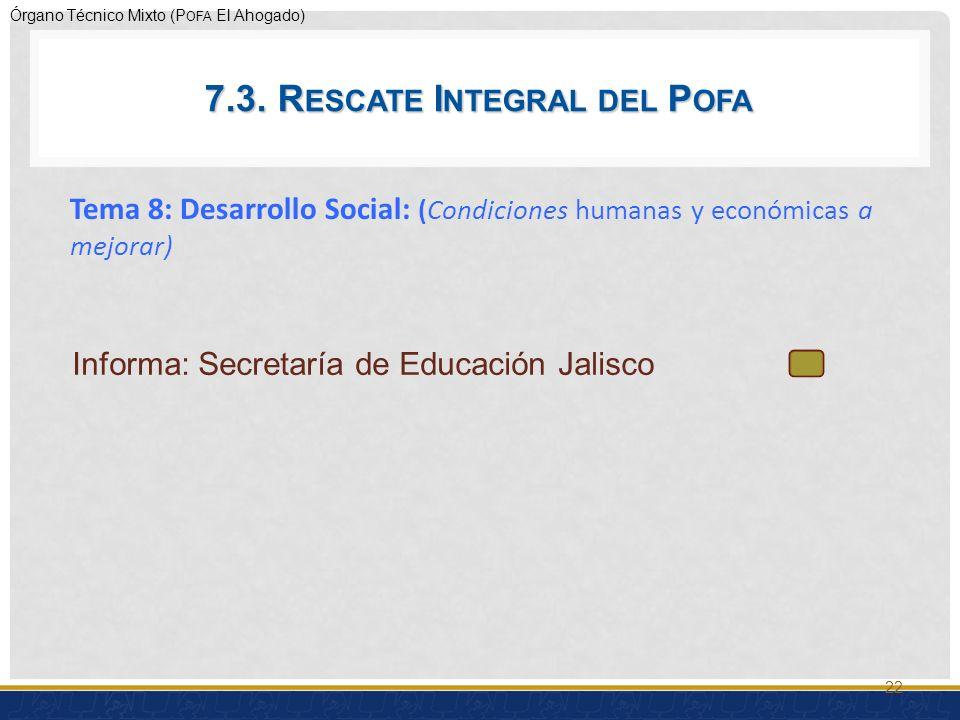 Órgano Técnico Mixto (P OFA El Ahogado) Tema 8: Desarrollo Social: (Condiciones humanas y económicas a mejorar) 22 7.3.