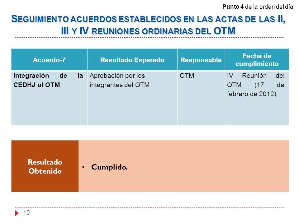 Acuerdo-7Resultado EsperadoResponsable Fecha de cumplimiento Integración de la CEDHJ al OTM. Aprobación por los integrantes del OTM OTMIV Reunión del
