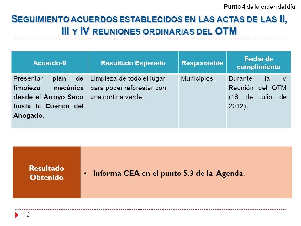 Acuerdo-9Resultado EsperadoResponsable Fecha de cumplimiento Presentar plan de limpieza mecánica desde el Arroyo Seco hasta la Cuenca del Ahogado. Lim