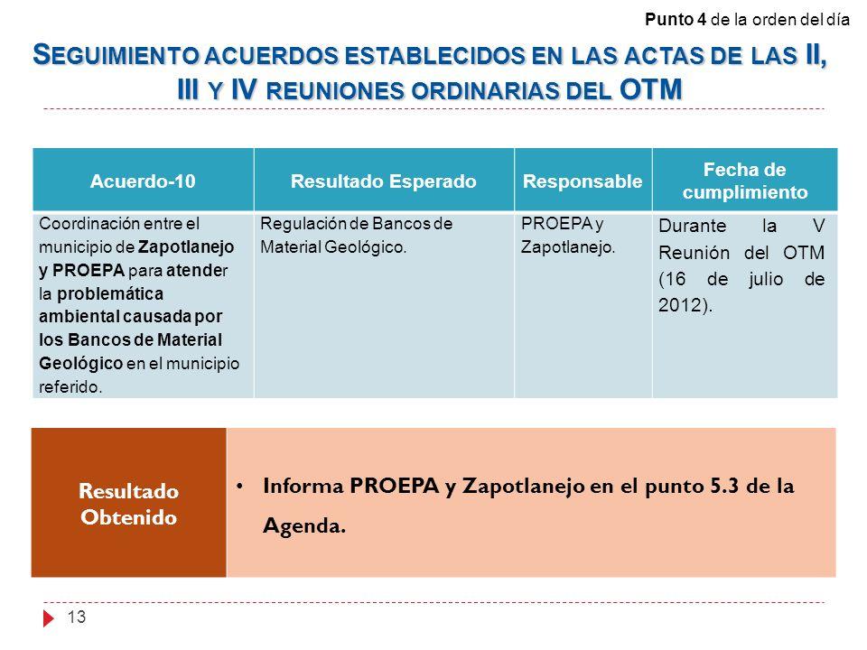 Acuerdo-10Resultado EsperadoResponsable Fecha de cumplimiento Coordinación entre el municipio de Zapotlanejo y PROEPA para atender la problemática ambiental causada por los Bancos de Material Geológico en el municipio referido.