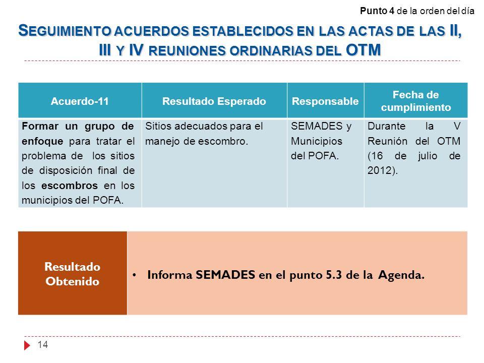 Acuerdo-11Resultado EsperadoResponsable Fecha de cumplimiento Formar un grupo de enfoque para tratar el problema de los sitios de disposición final de los escombros en los municipios del POFA.
