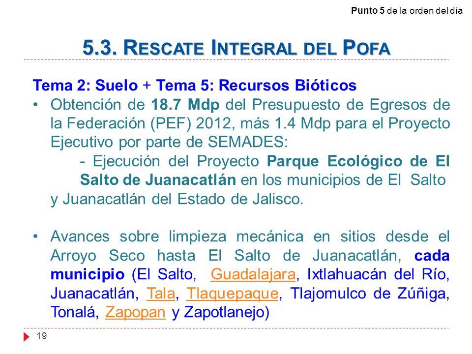 19 Tema 2: Suelo + Tema 5: Recursos Bióticos Obtención de 18.7 Mdp del Presupuesto de Egresos de la Federación (PEF) 2012, más 1.4 Mdp para el Proyecto Ejecutivo por parte de SEMADES: - Ejecución del Proyecto Parque Ecológico de El Salto de Juanacatlán en los municipios de El Salto y Juanacatlán del Estado de Jalisco.