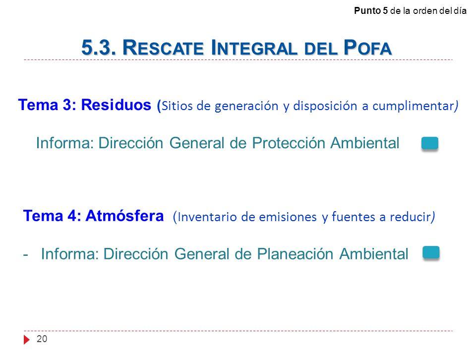 Tema 3: Residuos ( Sitios de generación y disposición a cumplimentar) Informa: Dirección General de Protección Ambiental 5.3.