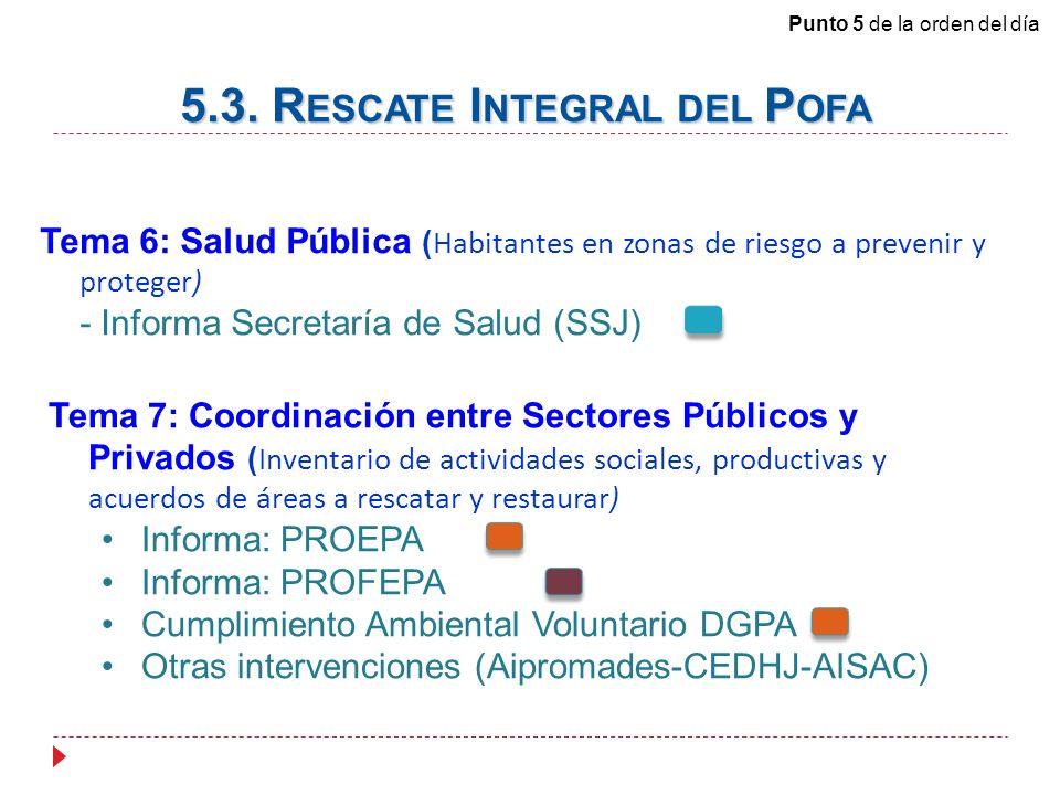Tema 6: Salud Pública ( Habitantes en zonas de riesgo a prevenir y proteger) - Informa Secretaría de Salud (SSJ) Tema 7: Coordinación entre Sectores Públicos y Privados ( Inventario de actividades sociales, productivas y acuerdos de áreas a rescatar y restaurar) Informa: PROEPA Informa: PROFEPA Cumplimiento Ambiental Voluntario DGPA Otras intervenciones (Aipromades-CEDHJ-AISAC) 5.3.