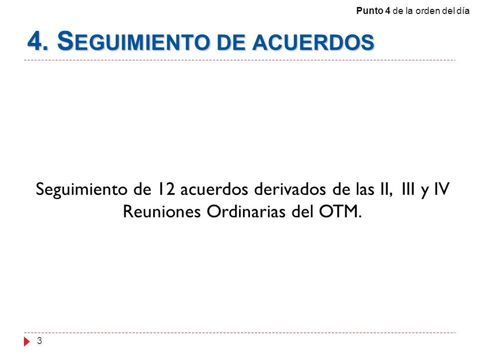 4. S EGUIMIENTO DE ACUERDOS 3 Seguimiento de 12 acuerdos derivados de las II, III y IV Reuniones Ordinarias del OTM. Punto 4 de la orden del día