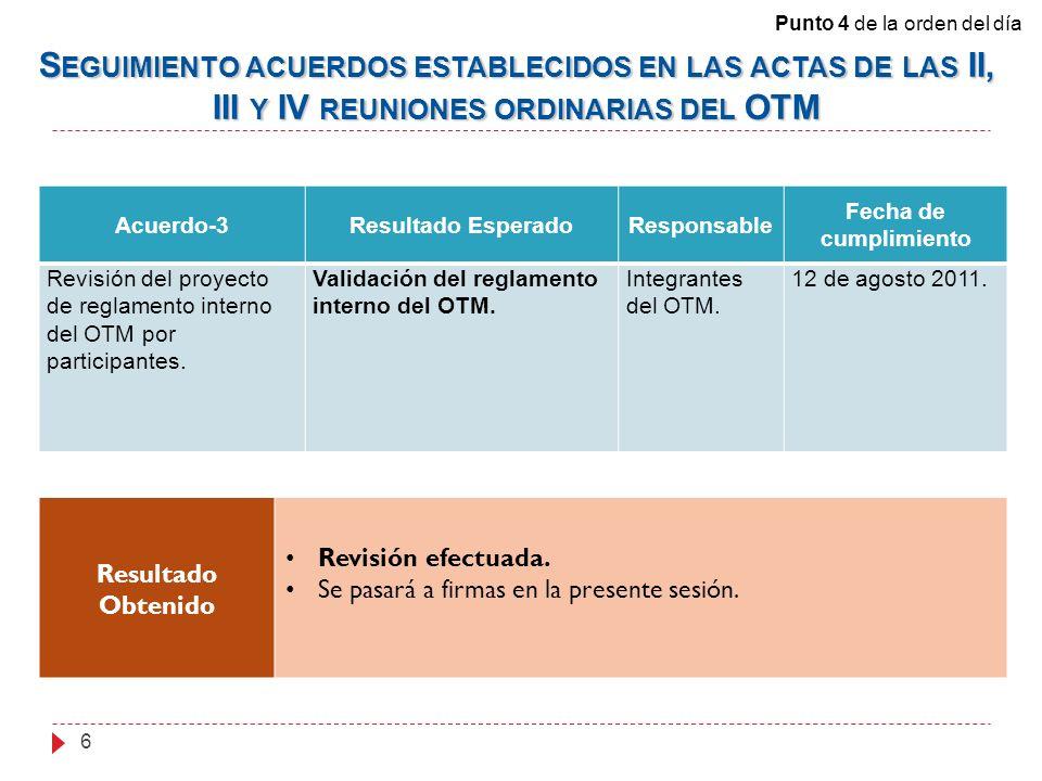 Acuerdo-3Resultado EsperadoResponsable Fecha de cumplimiento Revisión del proyecto de reglamento interno del OTM por participantes.