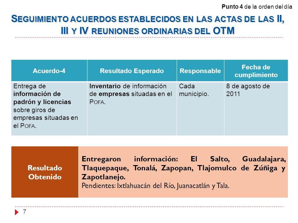 Acuerdo-4Resultado EsperadoResponsable Fecha de cumplimiento Entrega de información de padrón y licencias sobre giros de empresas situadas en el P OFA.