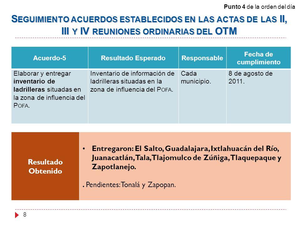 Acuerdo-5Resultado EsperadoResponsable Fecha de cumplimiento Elaborar y entregar inventario de ladrilleras situadas en la zona de influencia del P OFA