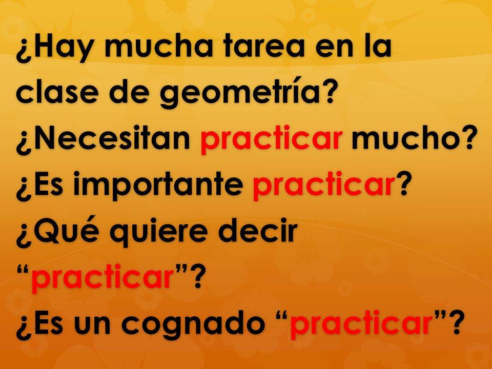 ¿Hay mucha tarea en la clase de geometría? ¿Necesitan practicar mucho? ¿Es importante practicar? ¿Qué quiere decirpracticar? ¿Es un cognado practicar?