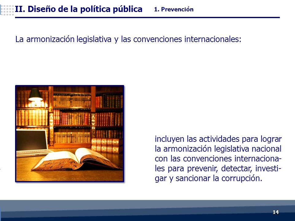 1414 La armonización legislativa y las convenciones internacionales: incluyen las actividades para lograr la armonización legislativa nacional con las convenciones internaciona- les para prevenir, detectar, investi- gar y sancionar la corrupción.