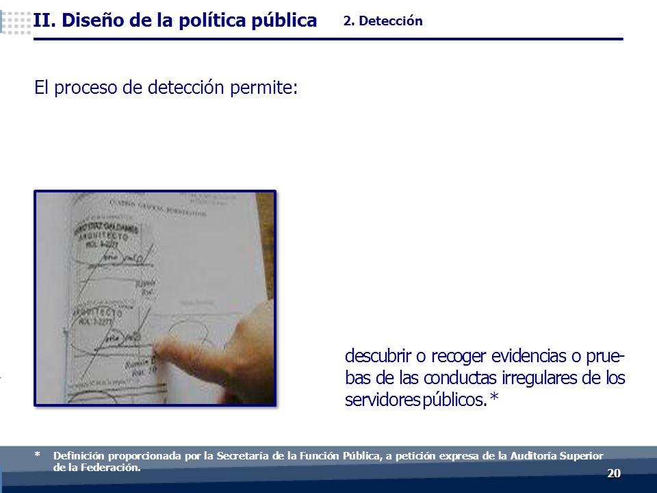 2020 descubrir o recoger evidencias o prue- bas de las conductas irregulares de los servidores públicos.
