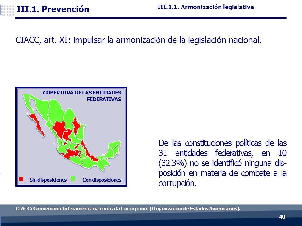 4040 De las constituciones políticas de las 31 entidades federativas, en 10 (32.3%) no se identificó ninguna dis- posición en materia de combate a la corrupción.