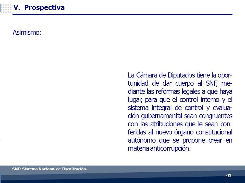9292 c V. Prospectiva SNF: Sistema Nacional de Fiscalización.
