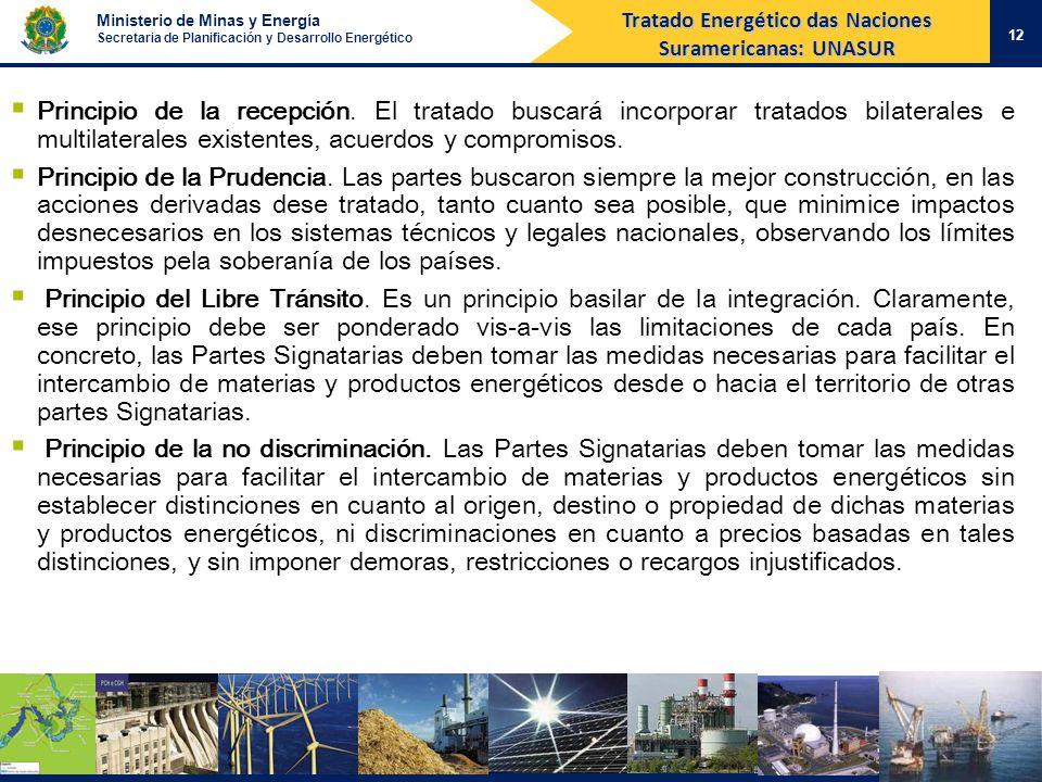 Ministerio de Minas y Energía Secretaria de Planificación y Desarrollo Energético 12 Principio de la recepción. El tratado buscará incorporar tratados