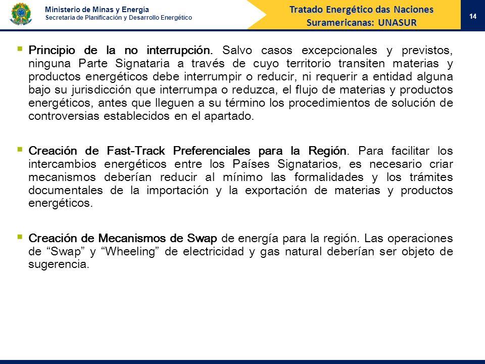 Ministerio de Minas y Energía Secretaria de Planificación y Desarrollo Energético 14 Tratado Energético das Naciones Suramericanas: UNASUR Principio d