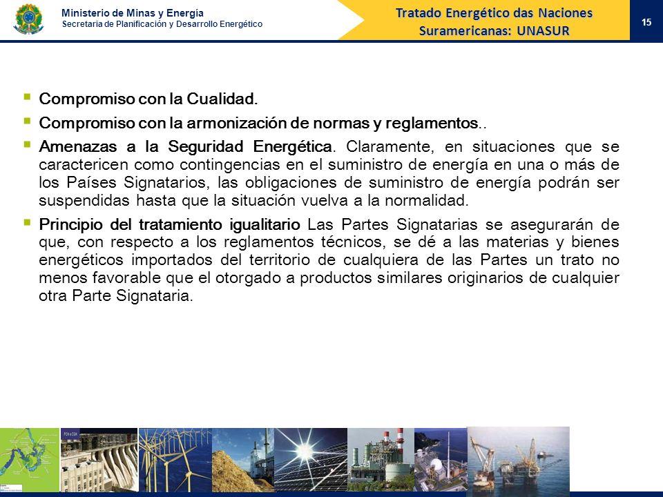 Ministerio de Minas y Energía Secretaria de Planificación y Desarrollo Energético 15 Tratado Energético das Naciones Suramericanas: UNASUR Compromiso