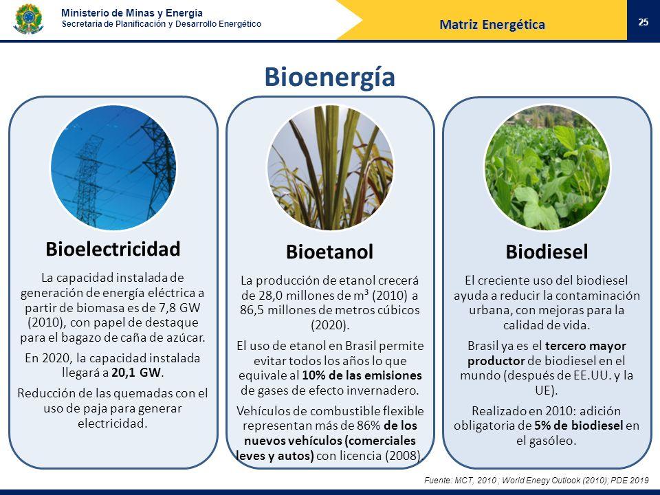 Ministerio de Minas y Energía Secretaria de Planificación y Desarrollo Energético Bioenergía 25 Bioelectricidad La capacidad instalada de generación d