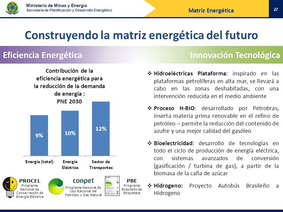 Ministerio de Minas y Energía Secretaria de Planificación y Desarrollo Energético Construyendo la matriz energética del futuro Eficiencia EnergéticaIn