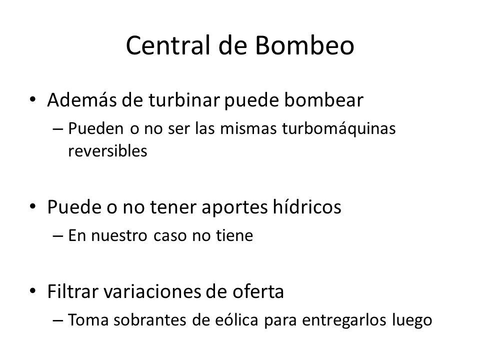 Central de Bombeo Además de turbinar puede bombear – Pueden o no ser las mismas turbomáquinas reversibles Puede o no tener aportes hídricos – En nuest
