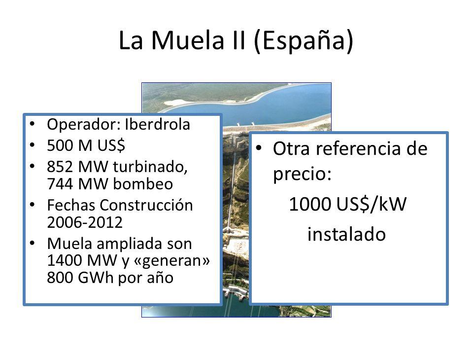 Operador: Iberdrola 500 M US$ 852 MW turbinado, 744 MW bombeo Fechas Construcción 2006-2012 Muela ampliada son 1400 MW y «generan» 800 GWh por año La