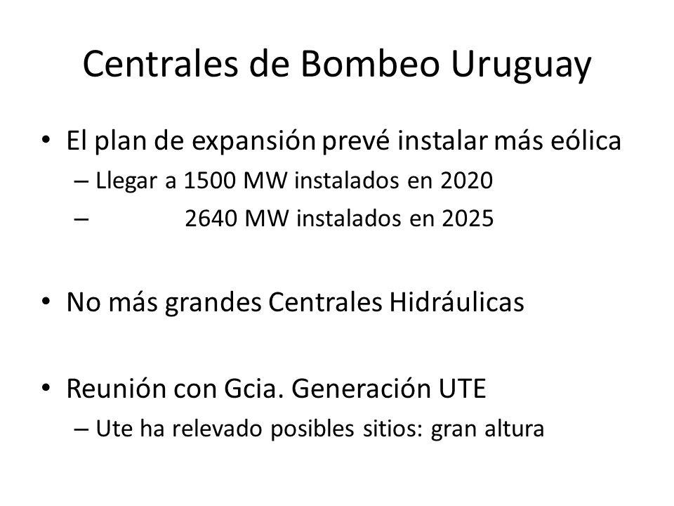 Centrales de Bombeo Uruguay El plan de expansión prevé instalar más eólica – Llegar a 1500 MW instalados en 2020 – 2640 MW instalados en 2025 No más g