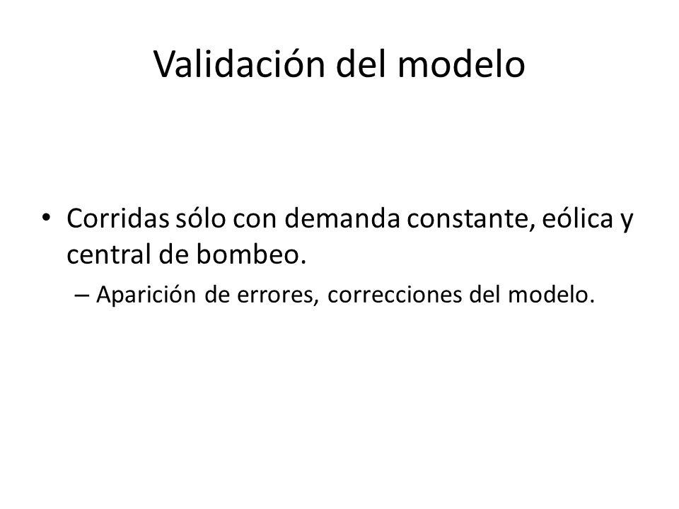 Validación del modelo Corridas sólo con demanda constante, eólica y central de bombeo. – Aparición de errores, correcciones del modelo.