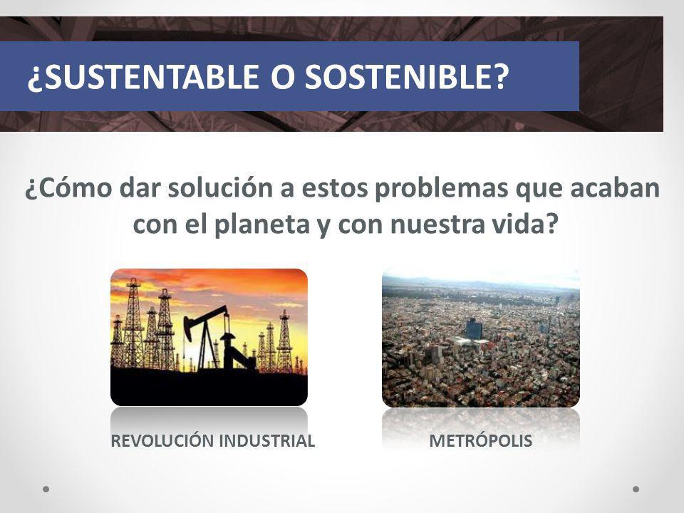 ¿Cómo dar solución a estos problemas que acaban con el planeta y con nuestra vida? ¿SUSTENTABLE O SOSTENIBLE? REVOLUCIÓN INDUSTRIALMETRÓPOLIS