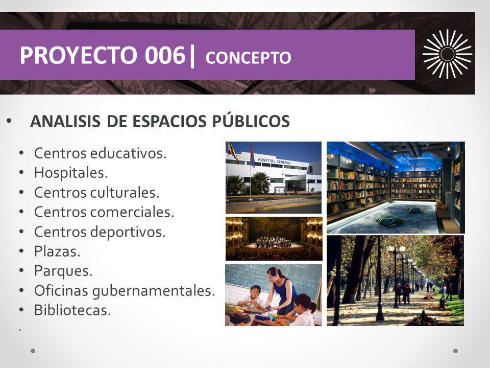 ANALISIS DE ESPACIOS PÚBLICOS PROYECTO 006| CONCEPTO Centros educativos. Hospitales. Centros culturales. Centros comerciales. Centros deportivos. Plaz