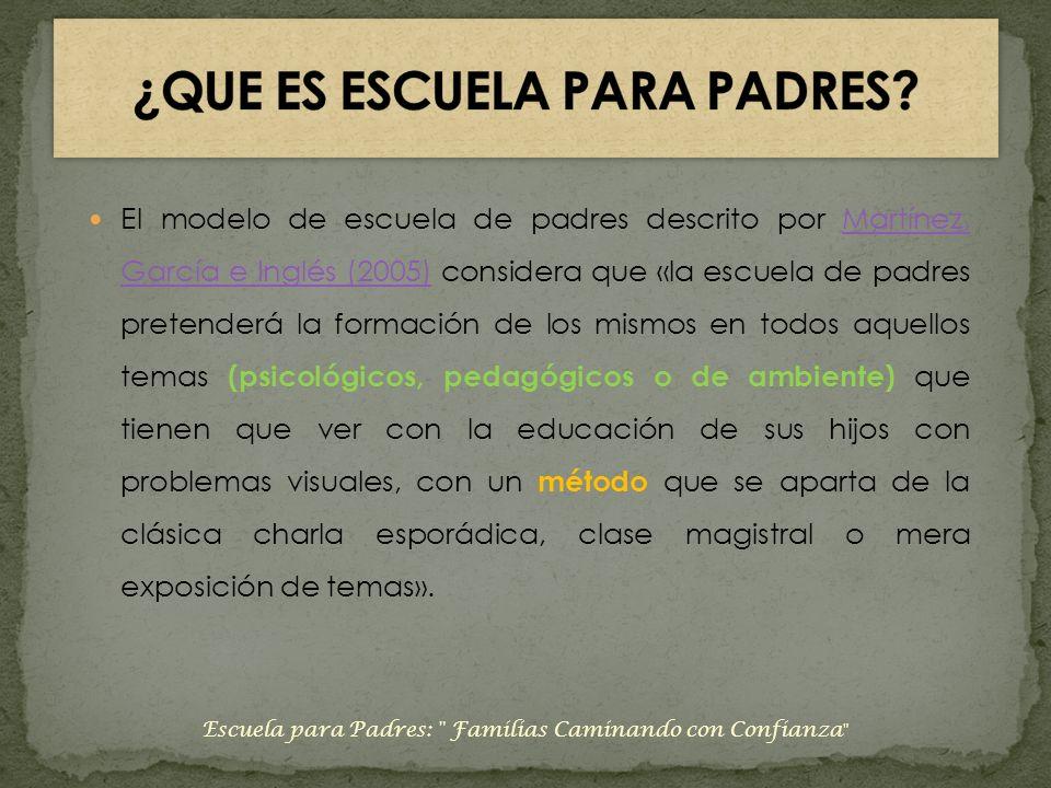 El modelo de escuela de padres descrito por Martínez, García e Inglés (2005) considera que «la escuela de padres pretenderá la formación de los mismos