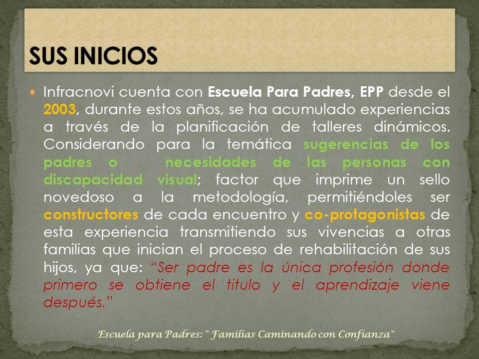 Infracnovi cuenta con Escuela Para Padres, EPP desde el 2003, durante estos años, se ha acumulado experiencias a través de la planificación de tallere